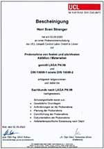 Sachkundezertifikat PN 98 Sven Strenger